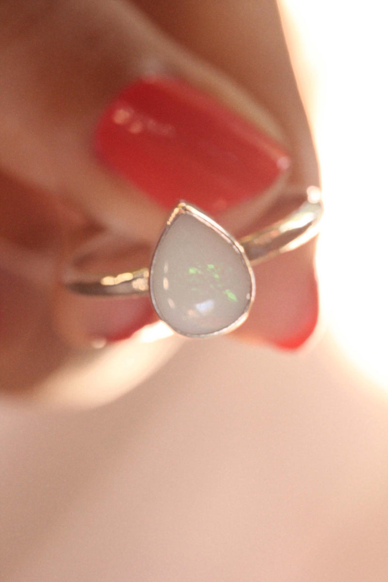 Opal Gypsy Ring, Little White Opal, Teardrop Gem, Slim Silver Ring, Boho Ring for Her