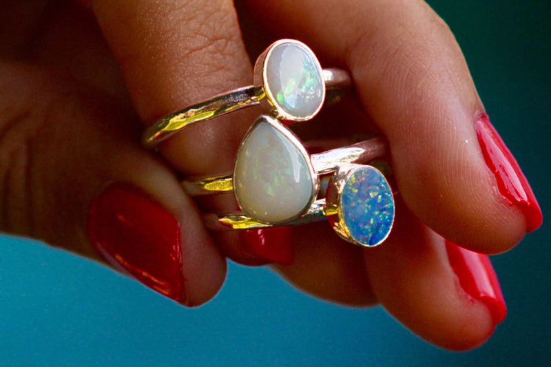 Slim White Opal Ring, Genuine Gemstone, Handmade, 925 Sterling, Stamped Silver, Nickel Free, Boho, Bohemian Style, Chic Jewelry, Jewellery