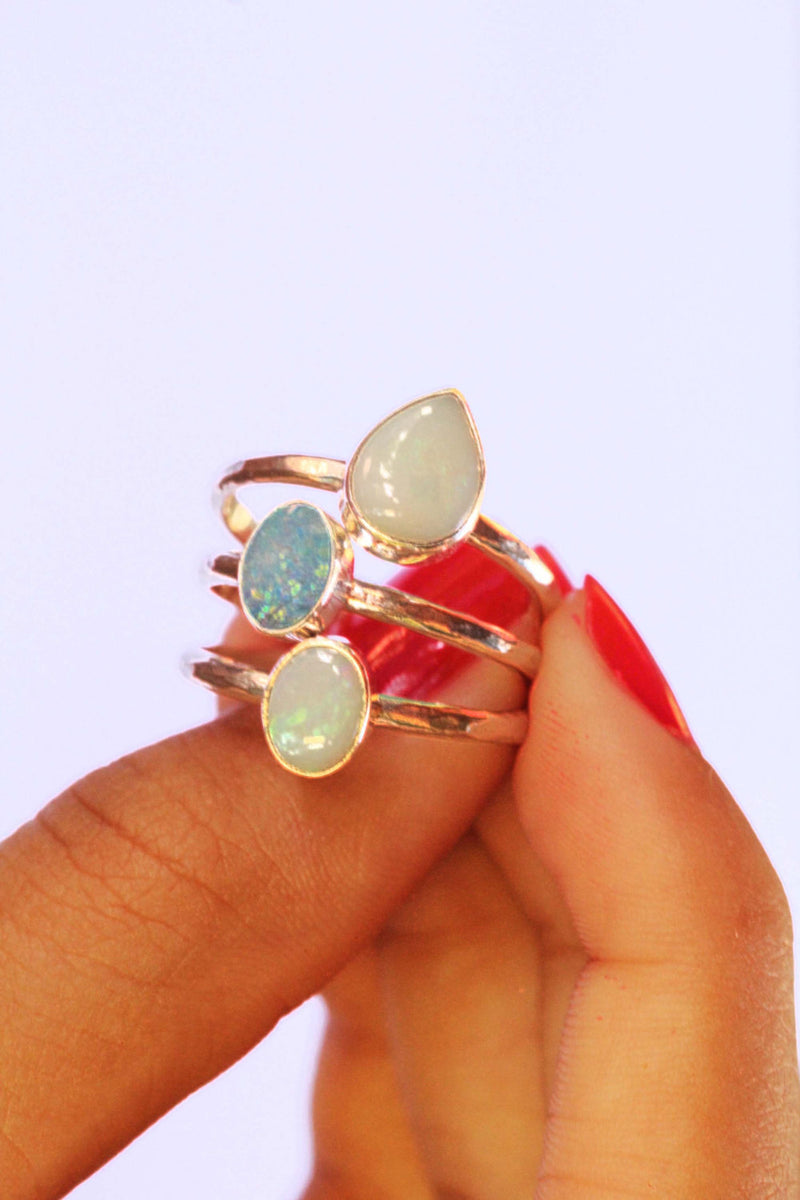 Teardrop White Opal Ring, 925 Sterling Silver, Stamped, Slim Band, Boho Jewelry, Gift For Her, Handmade, Australian Gemstone, Delicate, OOAK