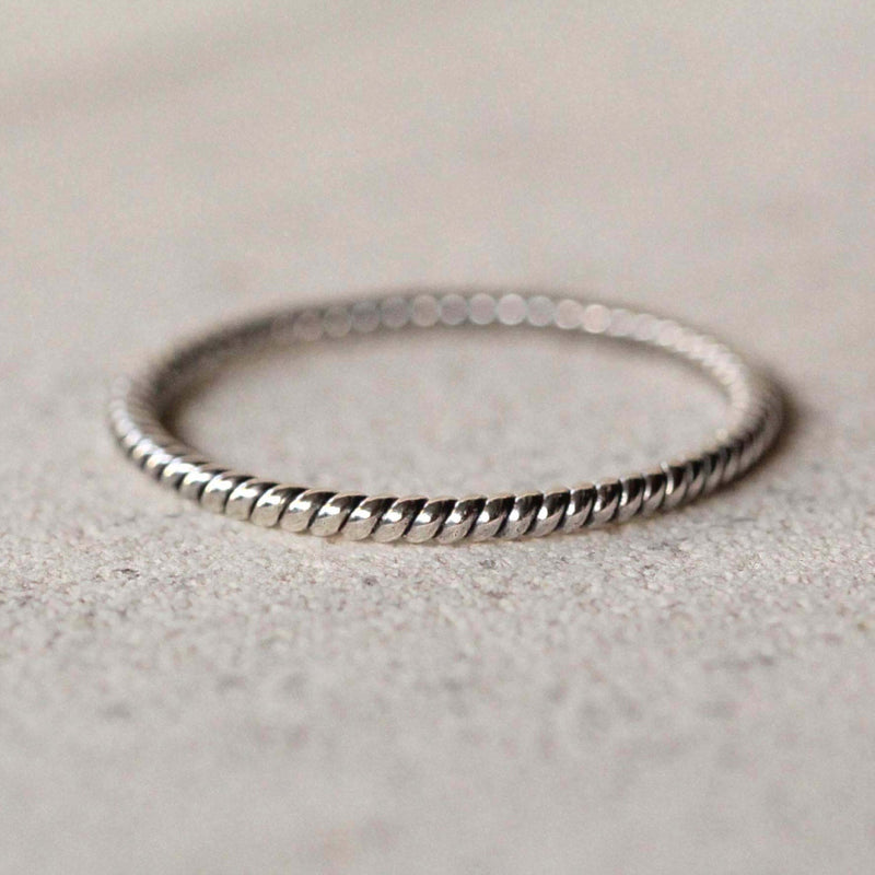 Twist Sterling Silver Stack Ring, Midi Ring in Solid 925 Sterling Silver, Bohemian Tiny Rope Twist Stacking Ring, Simple Ring
