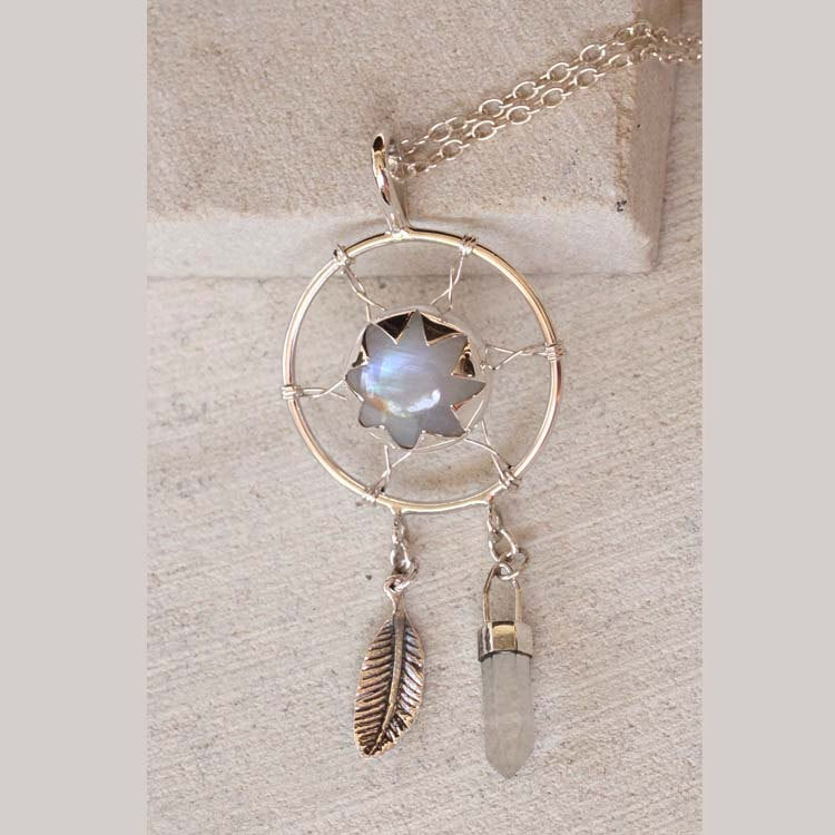 Fall Leaves, Large Moonstone Necklace, Dreamcatcher Jewelry, 925 Silver, Sterling Jewelry, Crystal Pendant, Handmade, Unique, Gypsy Style
