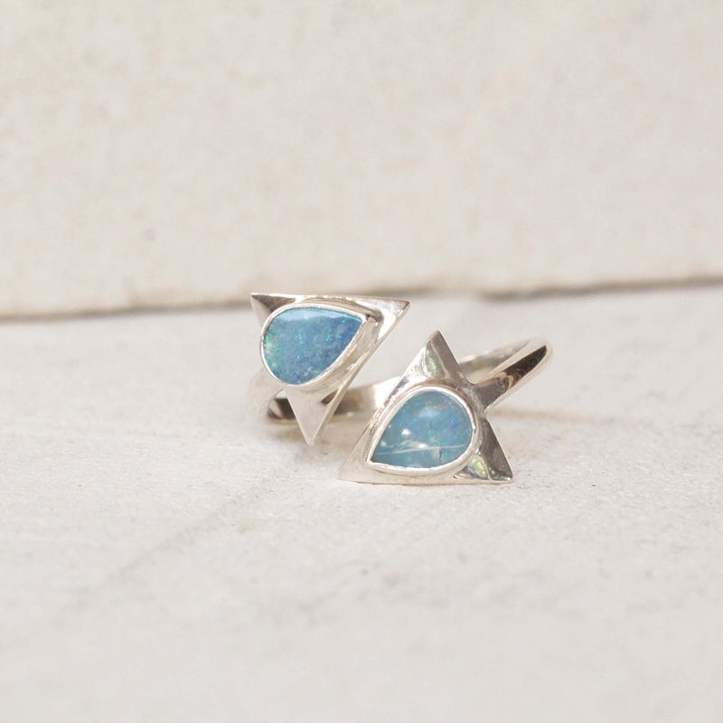 Natural Opal, Opal Ring, Arrow Ring, Midi Ring, Adjustable RIng, Silver Ring, Blue Opal Ring, Boho Ring