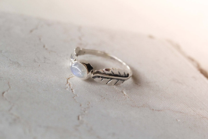 Moonstone Ring, Leaf Ring, Boho Rings, Simple Ring, Dainty Ring, Sterling Ring, Pattern Band Ring, Engagement Ring, Gift for Her, Leaf Rings