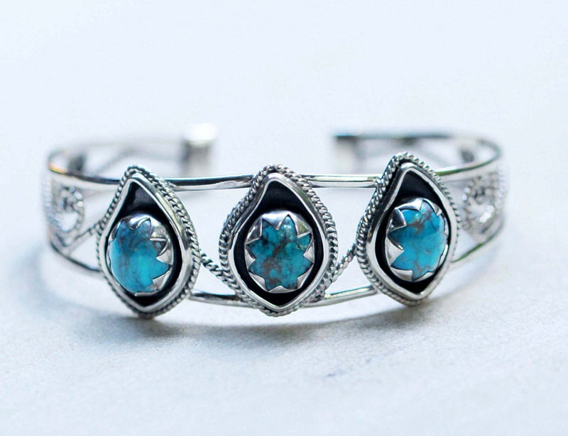 Turquoise Cuff, Turquoise Bracelet, Solid Sterling Silver, Boho Jewelry, Gypsy Cuff, Starcut, Sterling Turquoise Jewelry, Cuff Bracelet