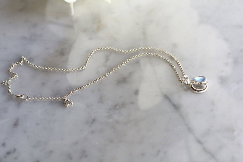 Teardrop Necklace, Moonstone Necklace, Crescent Jewelry, Moon Necklace, Sterling Pendants, Boho Jewelry, Bohemian Necklace, Celestial