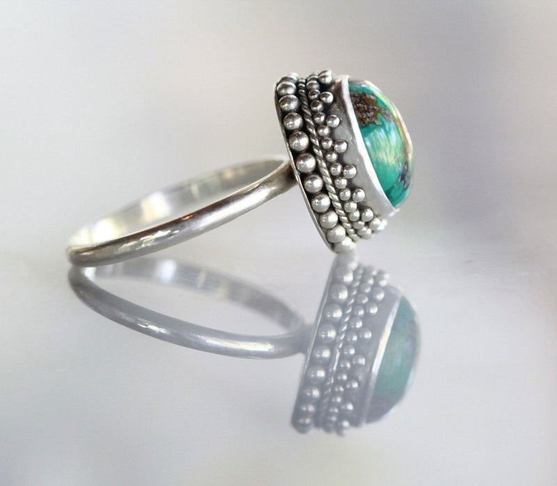 Boho Rings, 925 Sterling, Stamped Silver, Natural Gemstone, Turquoise, Oval Shape, Simple Silver, Regular Band, Unique Style, Handmade