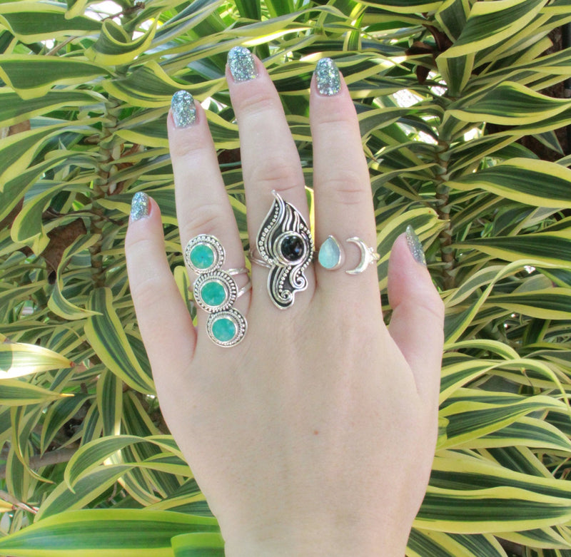 Turquoise Ring, Statement Ring, Boho Rings, Knuckle Ring, Boho Jewelry, Statement Ring, Sterling Silver Ring, Silver Rings, Bohemian Jewelry