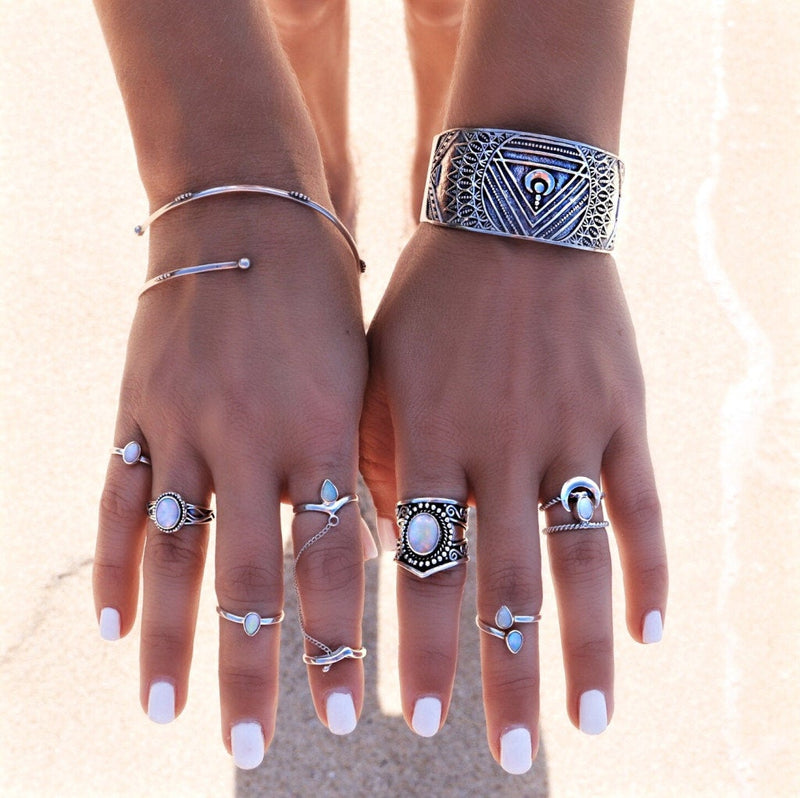 Teardrop Ring, Moonstone Ring, Stacking Rings, Chainring, Chevron Ring, Boho Ring, Bohemian, 925 Silver Ring, Trendy Ring, Silver Rings