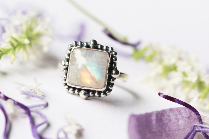 Moonstone Ring, 925 Sterling Ring, Silver Rings, Boho Rings, Silver Ring, Gift for Her, Square Ring, Ring with Balls, Rings, Sterling Rings