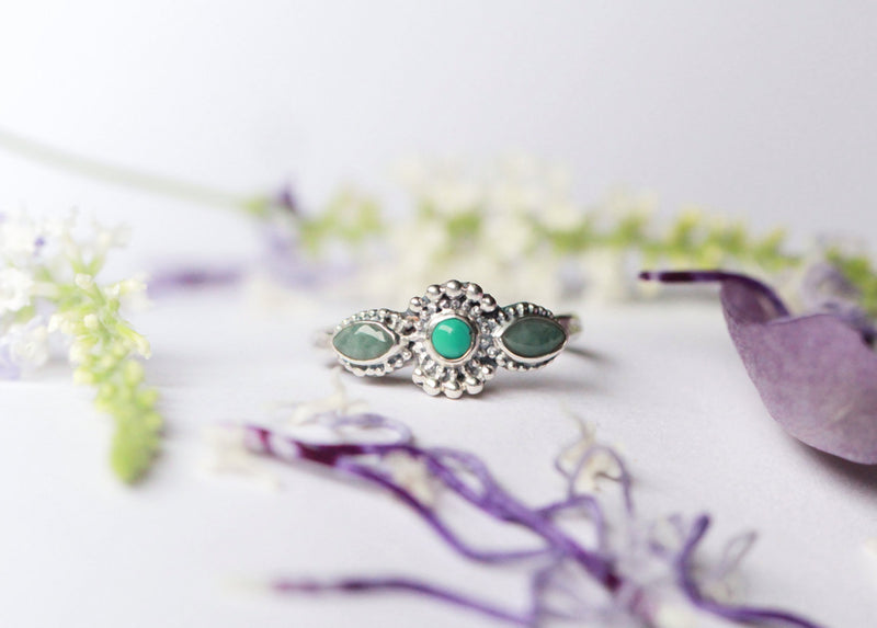 Emerald Ring, Turquoise Ring, Silver Ring, Solid 925 Sterling Silver, Tiny Ring Stack Ring, Vintage Style Ring, Delicate Rings, Don Biu