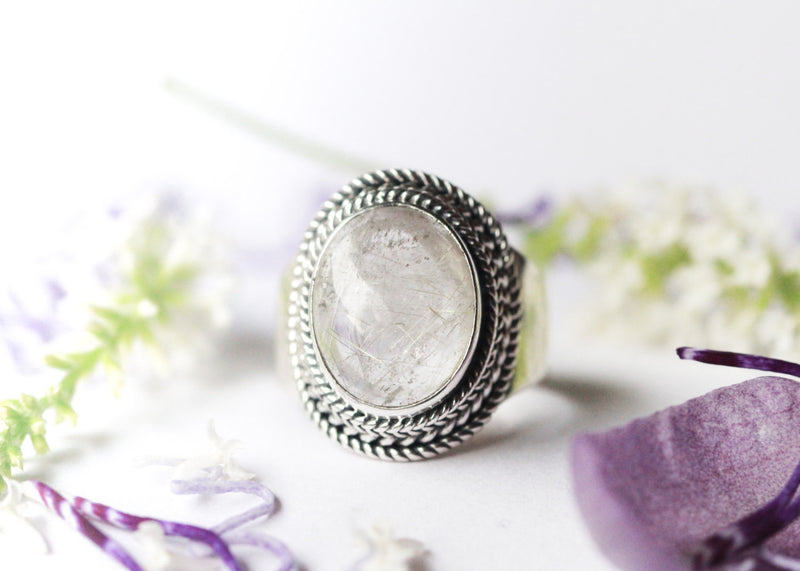 Silver Boho Ring, Trendy, 925 Sterling, Handmade, Clear Gemstone, Quartz, Large, Statement, Gypsy, Bohemian, Fashion, Stylish Jewelry, OOAK