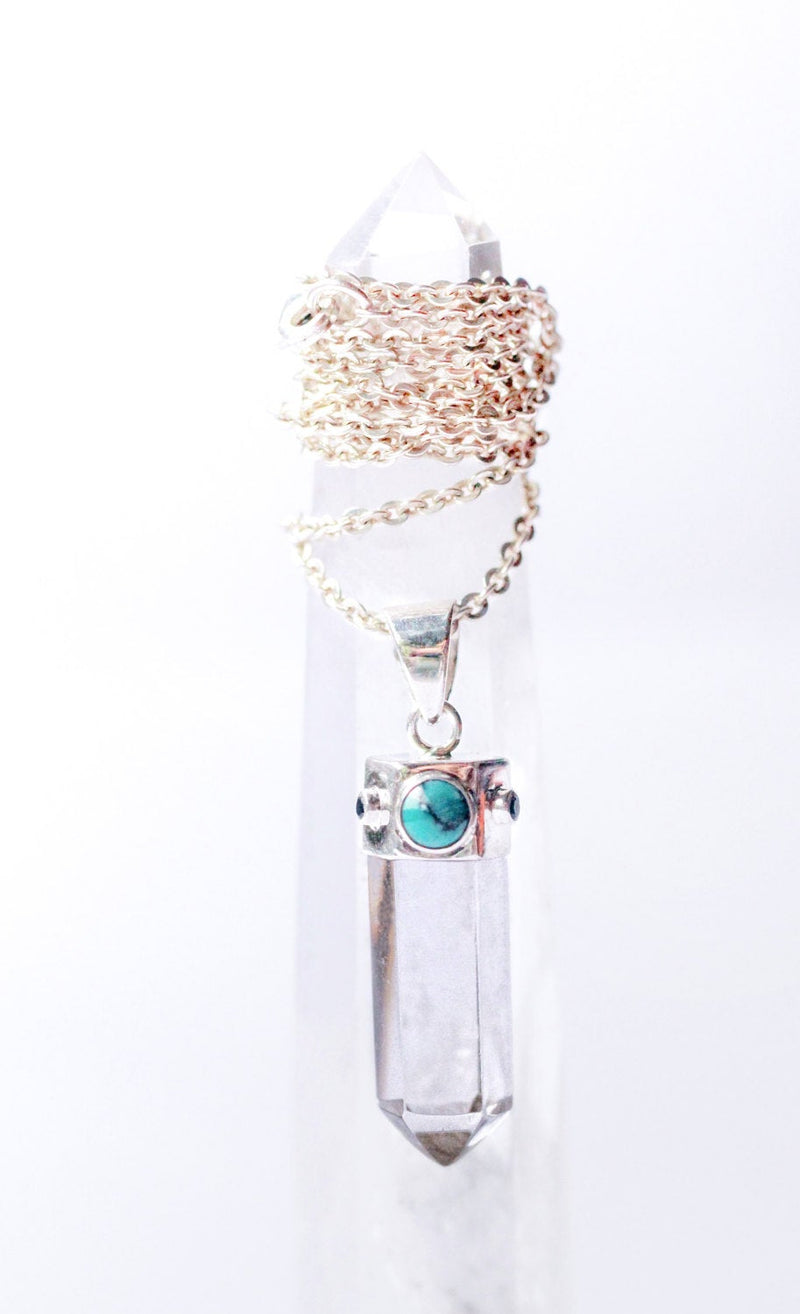 Crystal Necklace, Quartz Pendant Necklace, Solid Sterling, Turquoise, Gypsy Necklace, Boho Style, Point Hexagon, Crystal Quartz