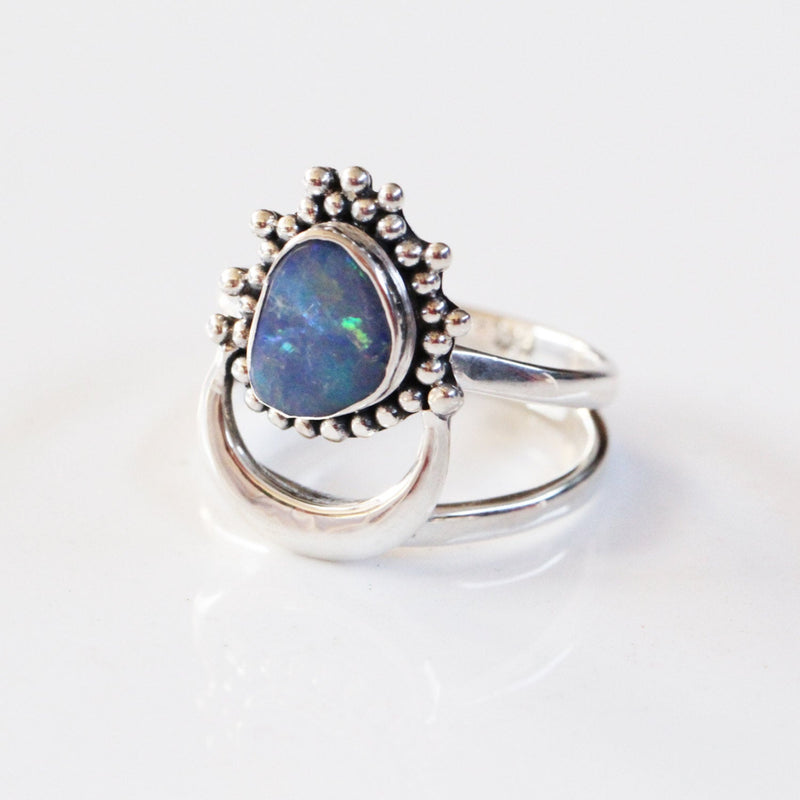 Natural Blue Opal Ring, 925 Sterling Silver Boho Ring, Opal Jewelry, Bohemian Jewelry, Ring, Silver Rings, Opal, Don Biu, Rings, Gypsy Ring