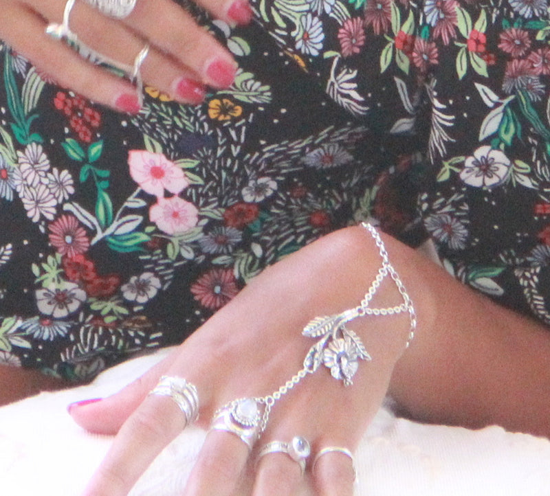 Hibiscus Hand Chain, Boho Jewelry, Flower Hand Chain, Hand Carved Solid 925 Sterling Silver, Slave Chain, Flower Jewelry, Festival Fashion