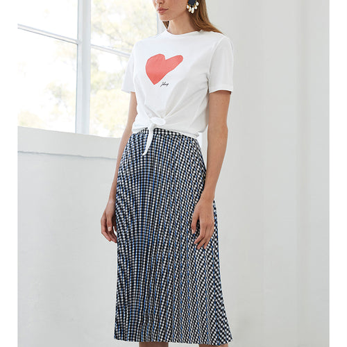 Checked Pleats Midi Skirt