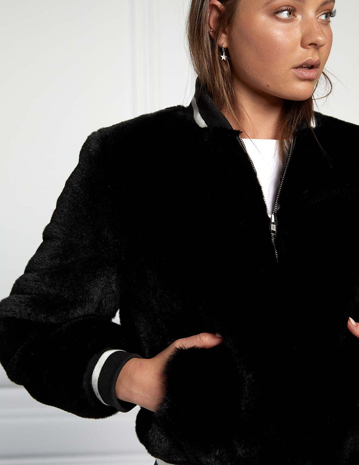 Essential Faux Fur Bomber Jacket