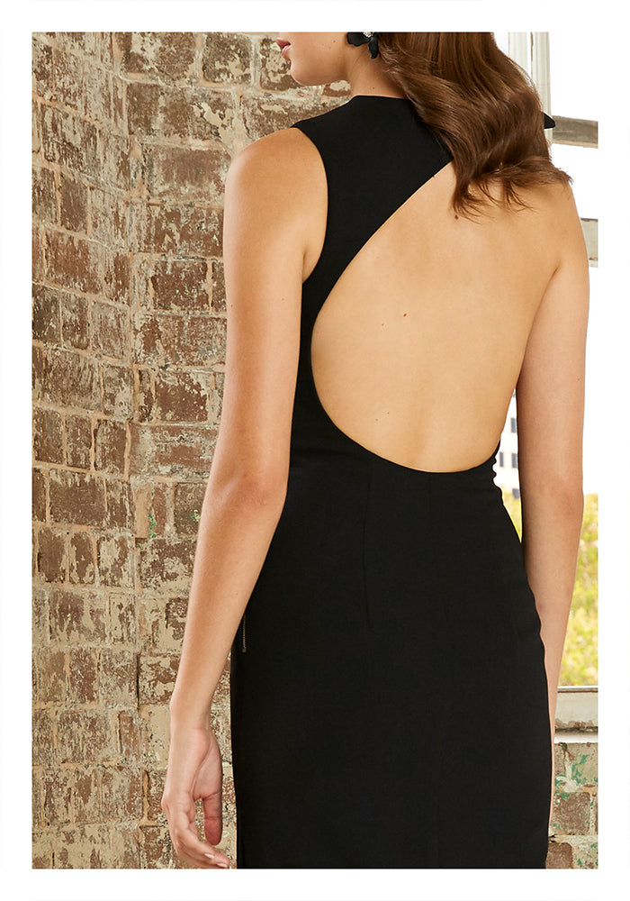 Open Bow Back Midi Dress