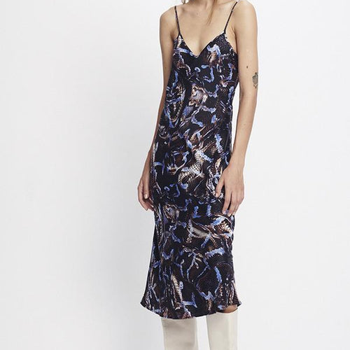 90's Printed Silk Slip Dress