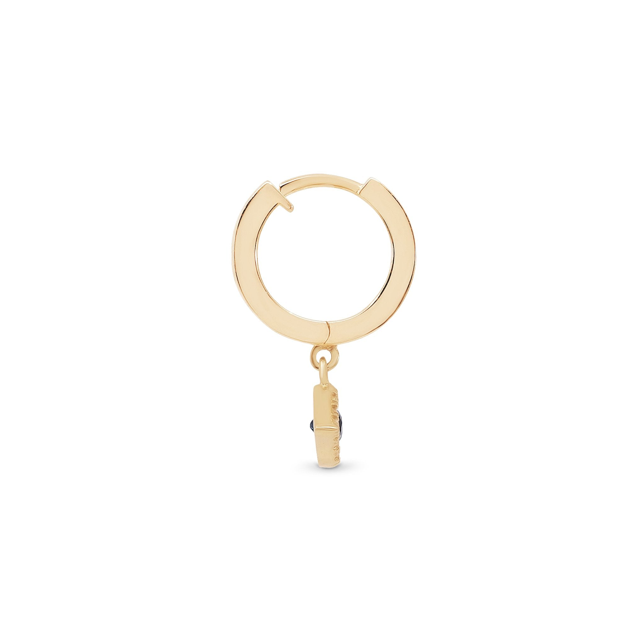 14k Gold Evil Eye Hoop Single