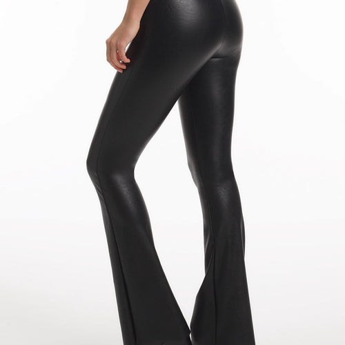 Faux Leather Flared  Legging With Perfect Control