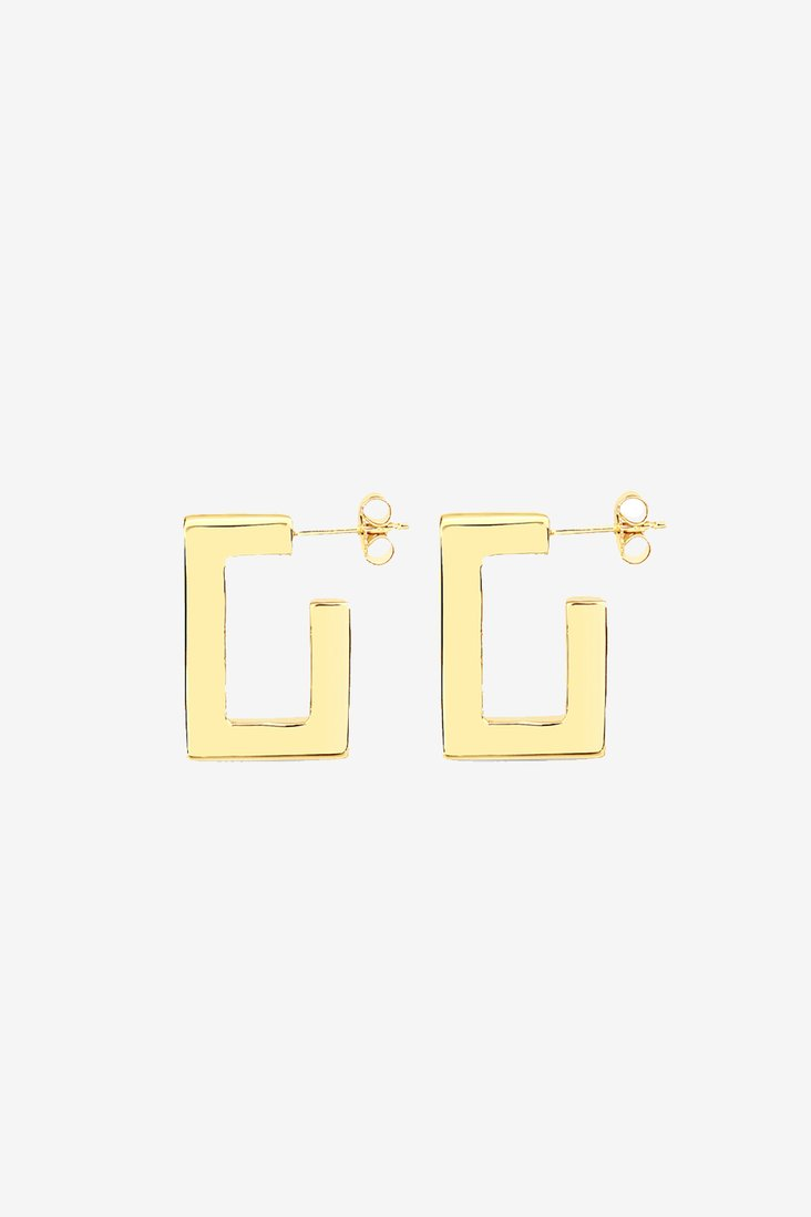 Square Plaza Hoops - 14K Vermeil