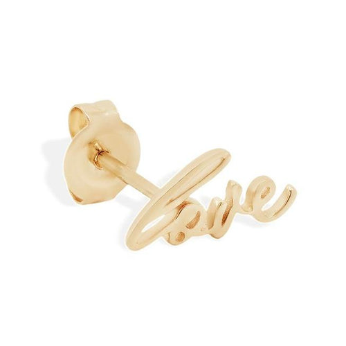 14K Gold All You Need is Love Single Earring