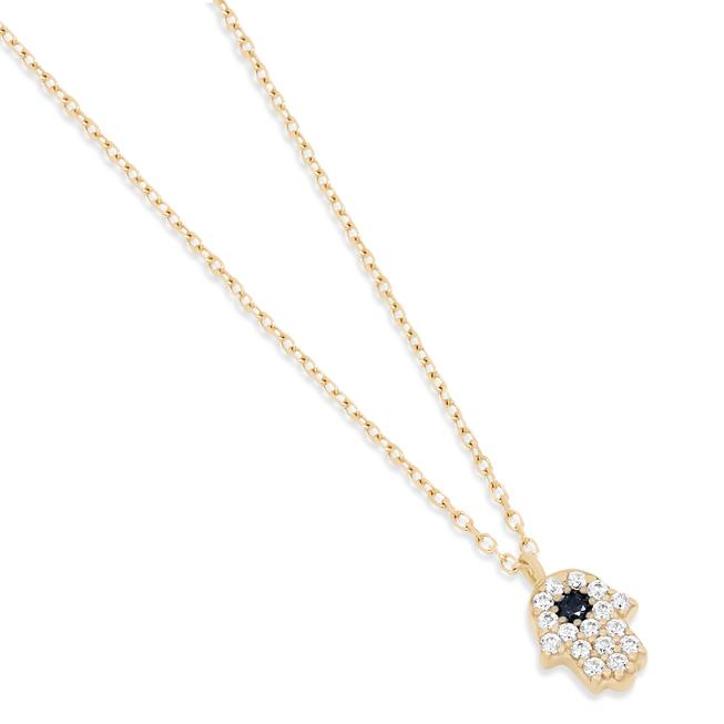 14K Gold Hand of Hamsa Necklace