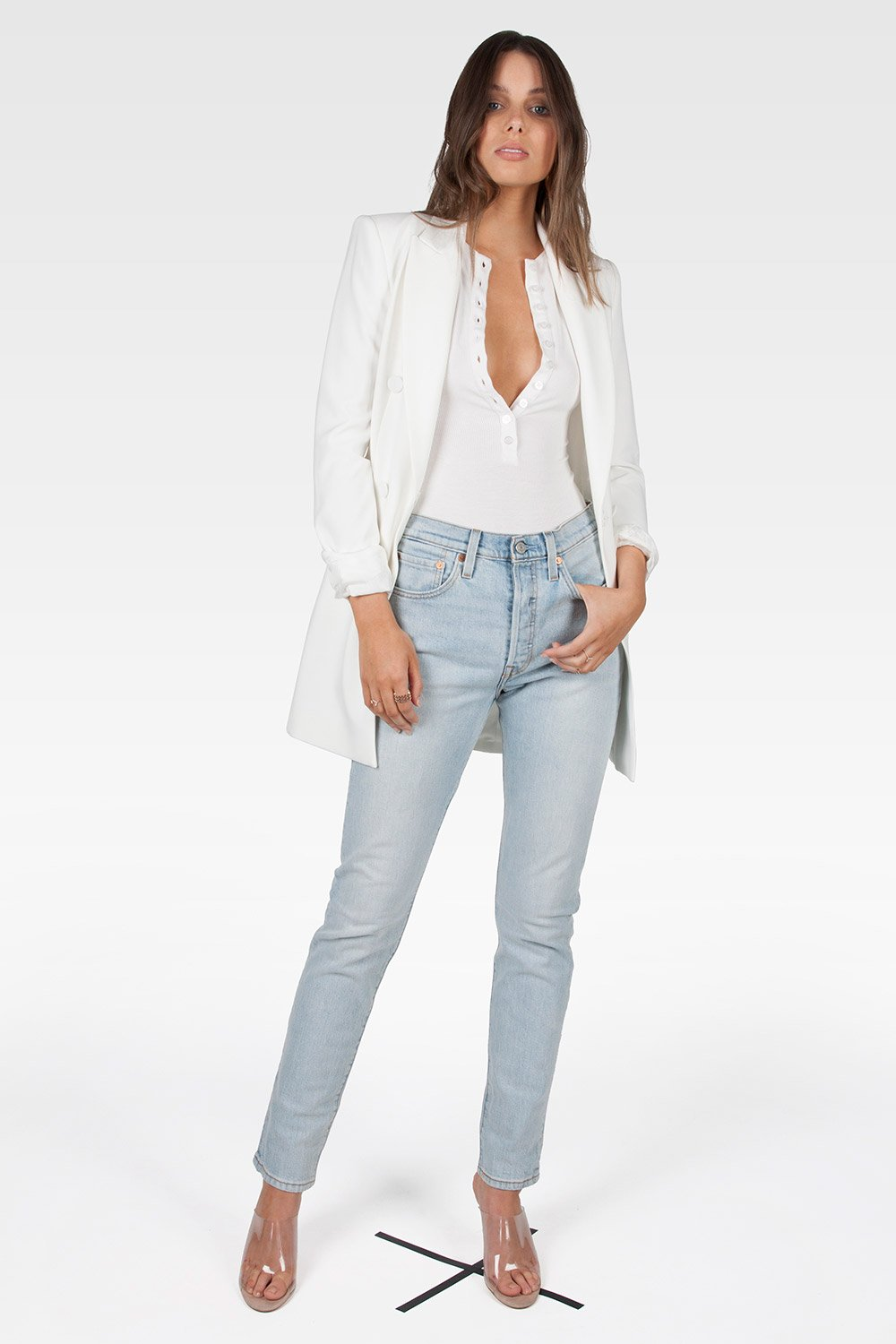 Crew Neck Button Down Bodysuit