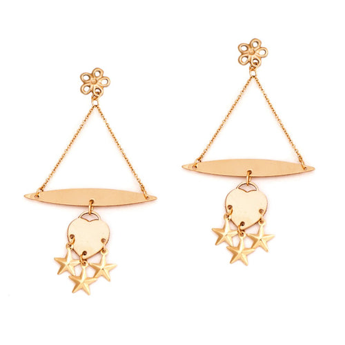 Gold Chandelier Star Earrings