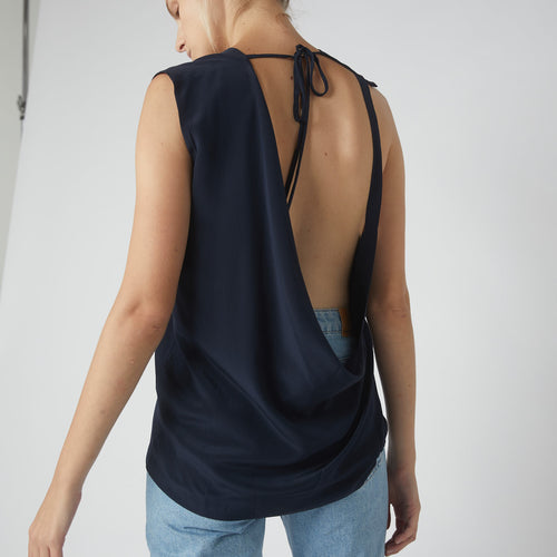 Neck Tie Collapse Back Tank