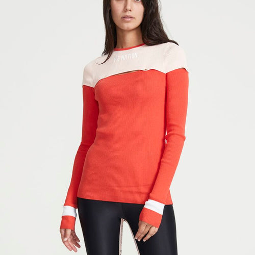 Short Corner Long Sleeve Knit Top