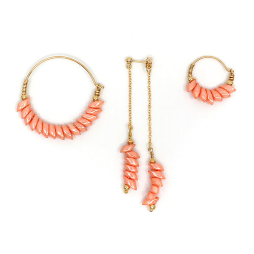 Gold Peach Pegasus Trio Earrings