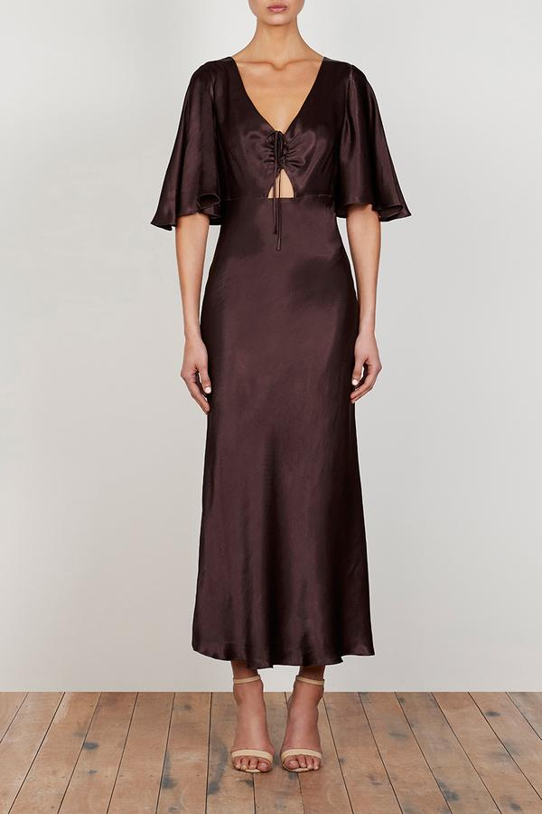 Wright Flutter Sleeve Bias Midi Dress