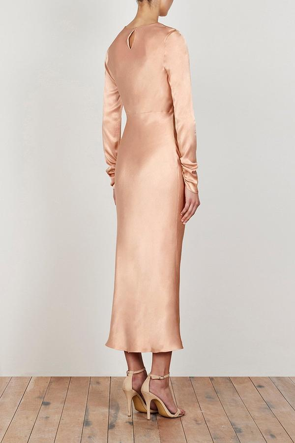 Wright Long Sleeve Bias Midi Dress