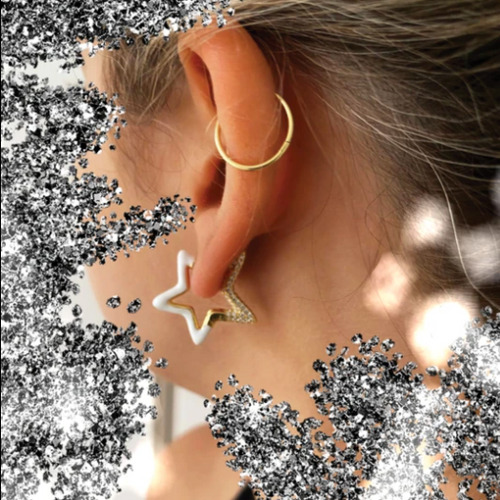 White Star Shining Earring