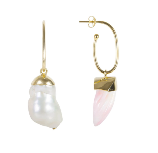 Baroque Pearl Seashell Hoops