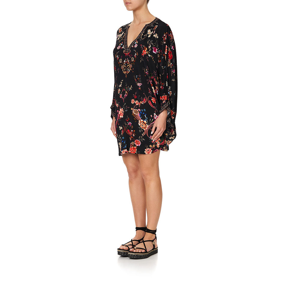 A Girl Like You Jersey Short Kaftan W/ Curved Hem