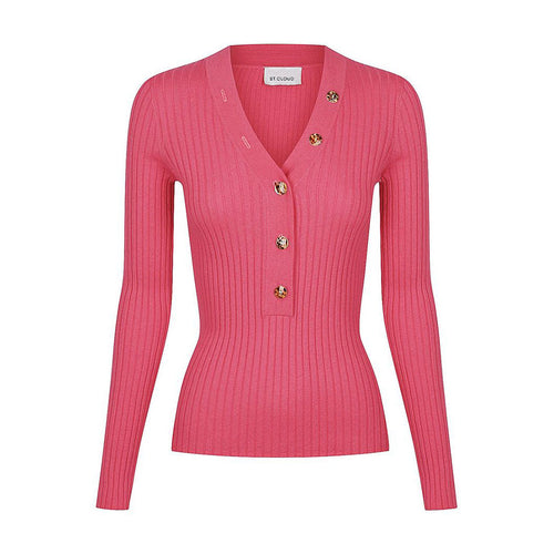 Long Sleeve V Neck Button Rib