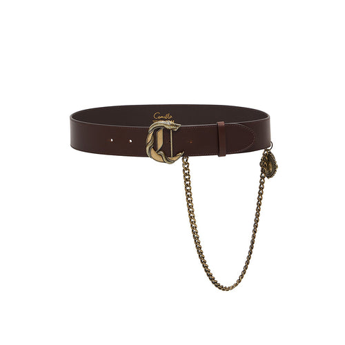 C BUCKLE LEATHER BELT WITH CHAIN