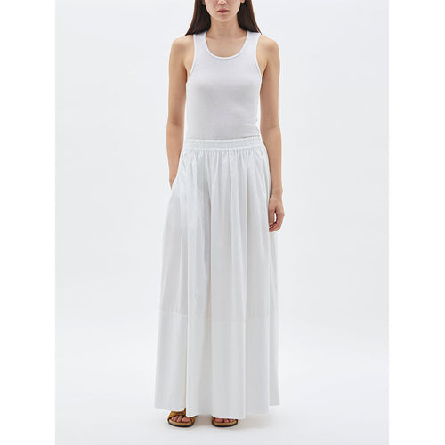 Cotton Gathered Longline Skirt