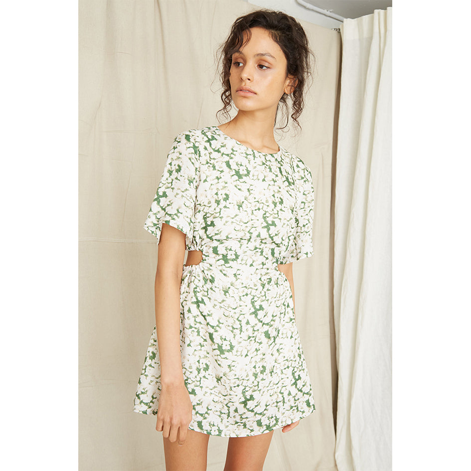 Pressed Flowers Draw Side Tee Dress