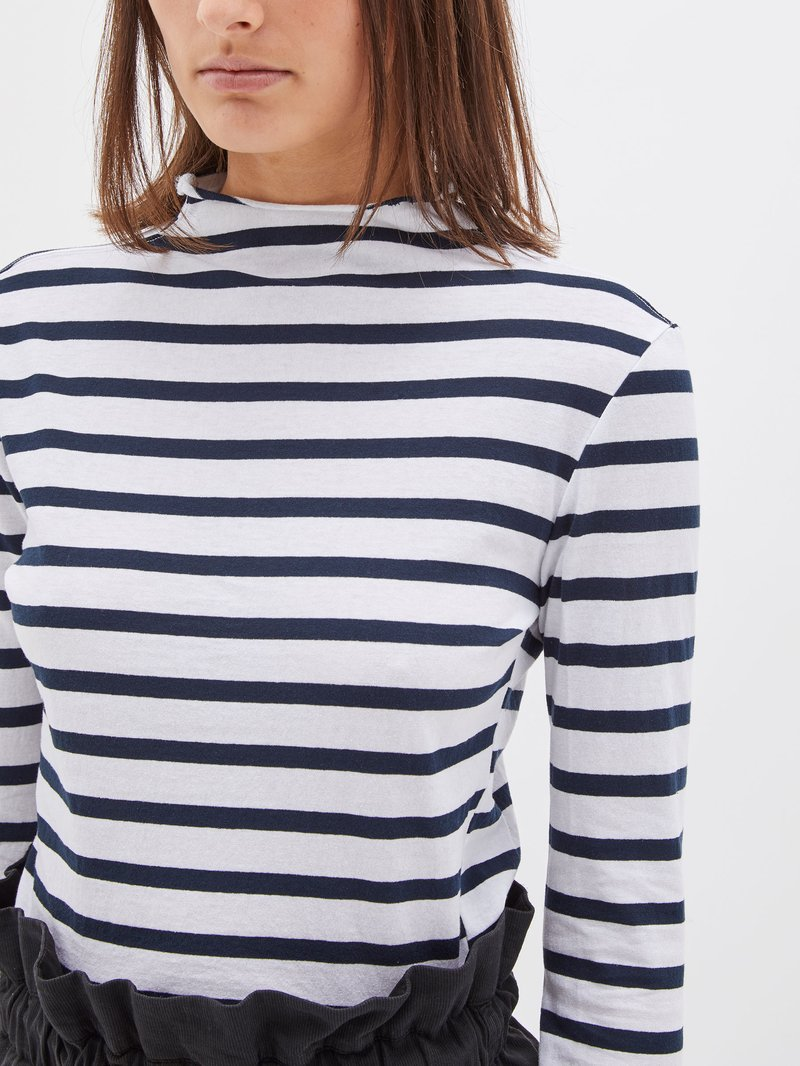 Raised Neck Stripe Long Sleeve T-Shirt