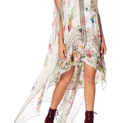 Jardin Postcards Long Sheer Overlay Dress