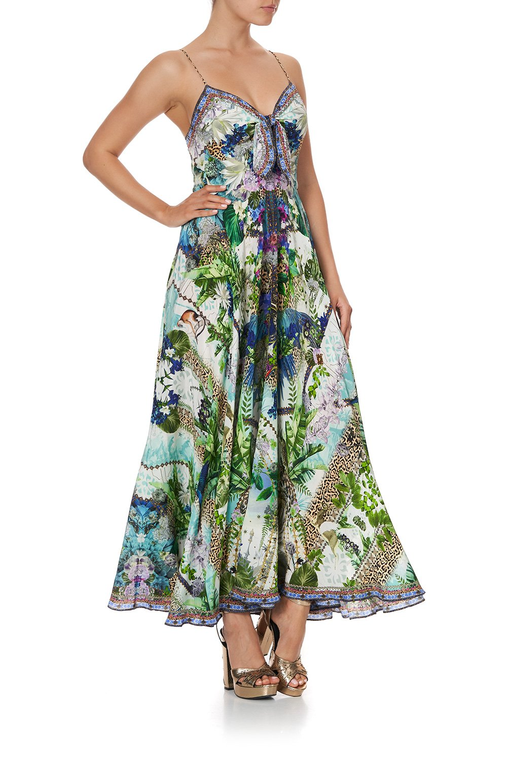 Moon Garden Long Dress with Tie Front
