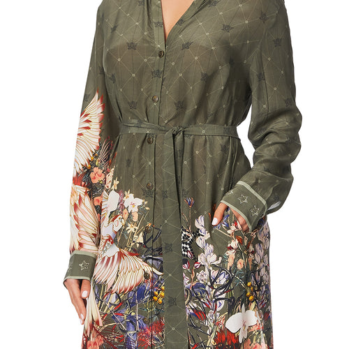 Watchful Wings Mid Length Shirt Dress