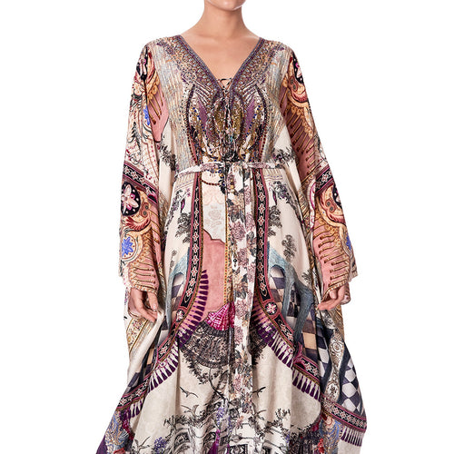 Violet City Split Hem Lace Up Kaftan
