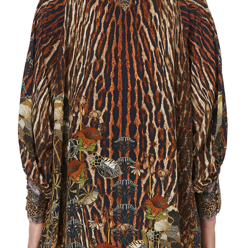Wild Azal Raglan Sleeve Button Up Top