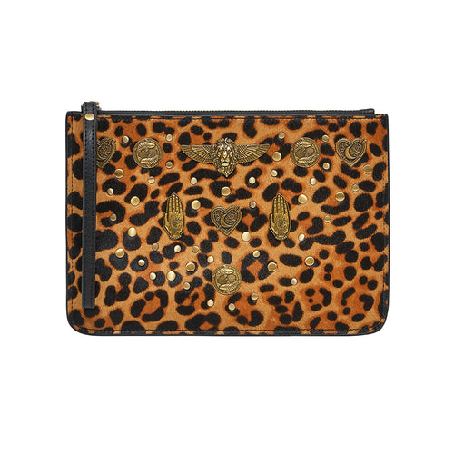 Fire at Night Studded Leather Clutch