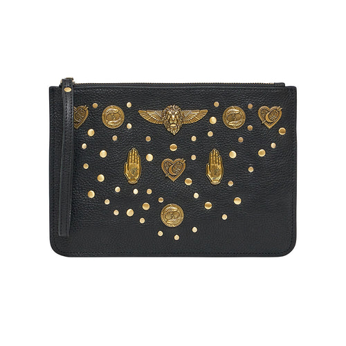 Solid Black Studded Leather Clutch