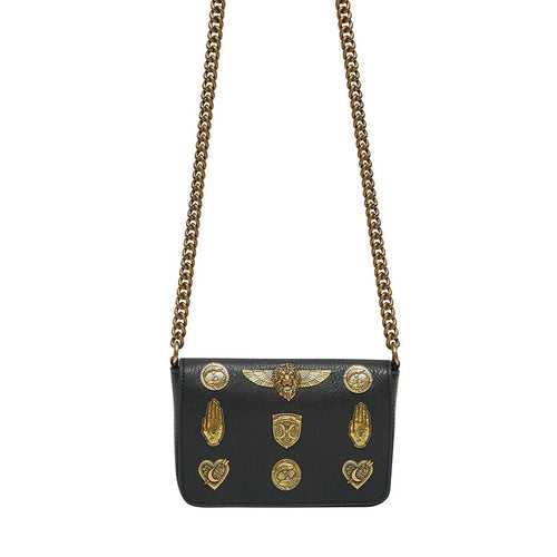 Solid Black Studded Leather Cross Body Bag